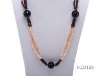 4-5mm pink oval freshwater pearl and black and red round agate necklace