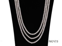 5-8mm white and black flat freshwater pearl multi-strand opera necklace