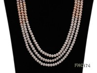 5-8 white and pink and purple flat freshwater pearls multi-strand opera necklace
