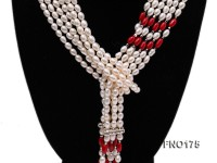 6-9mm white oval freshwater peal and red oval coral necklace