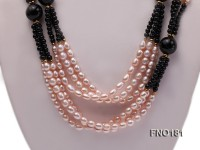 6-7mm pink and purple oval freshwater pearl and black round agate necklace