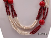 4-5mm white oval freshwater pearl and red round coral necklace