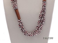 4-5mm multicolor round freshwater pearl and irregular garnet necklace