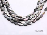 Wholesale 8x15mm Black Oval Seashell String