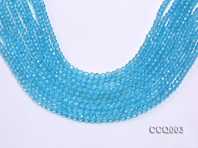Wholesale 4mm Round Blue Faceted Simulated Crystal Beads String