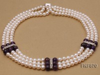 Three-strand 6-7mm White Freshwater Pearl and 8mm Amethyst Necklace