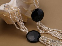 Six-strand 5-7mm Freshwater Pearl, Crystal Beads and Black Agate Necklace