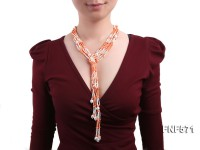 Multi-strand 3-4mm White Freshwater Pearl, 3-5mm Coral Beads Necklace Dotted with Shell Beads