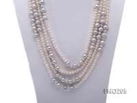 6-7mm white round freshwater pearl and 8-9mm grey round freshwater pearl nacklace