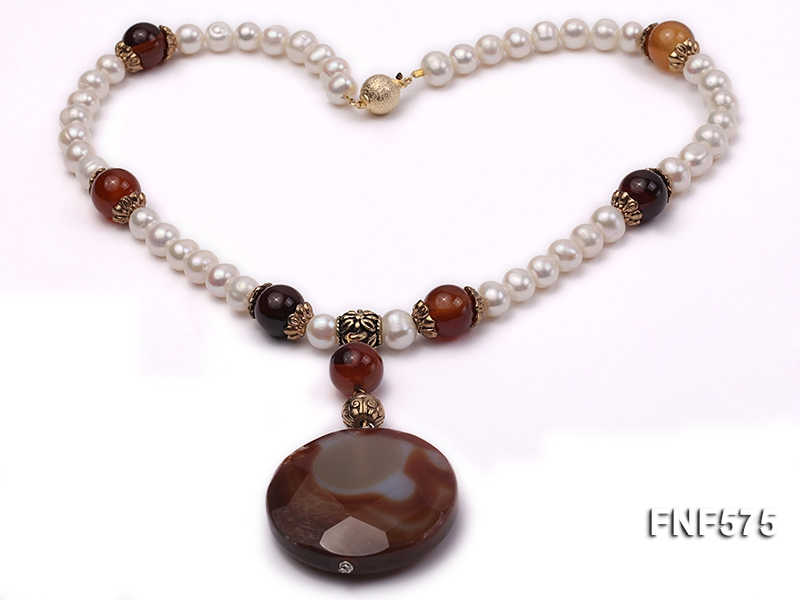 9mm White Freshwater Pearl and Red Agate Beads Necklace
