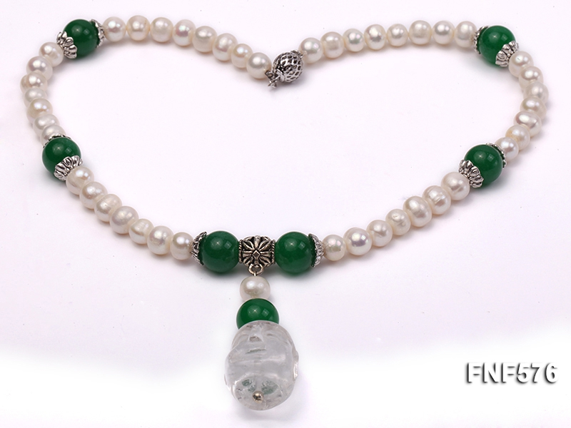 7-9mm White Freshwater Pearl and 12mm Malaysian Jade Beads Necklace with a White Crystal Pendant.