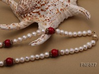 8-9mm White Freshwater Pearl, 12mm Red Coral Beads Necklace with a Red Disc-shaped Agate Pendant