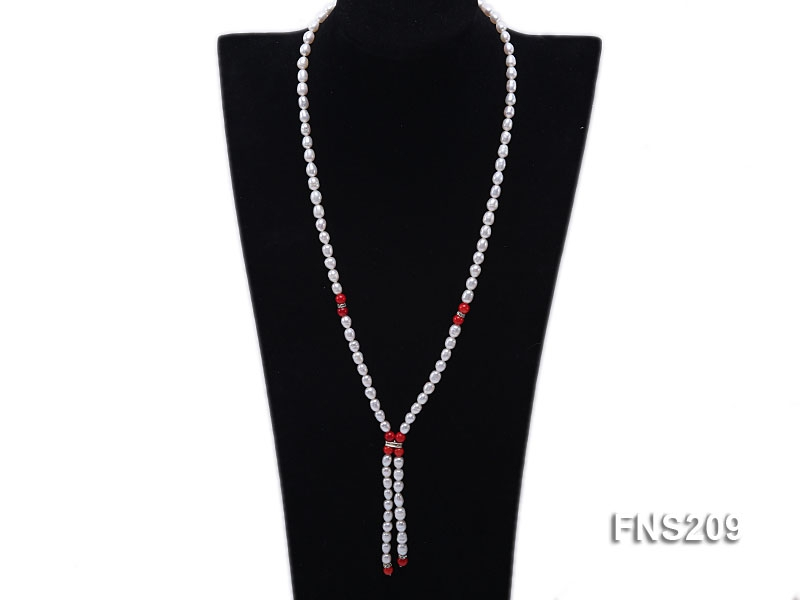 natural white rice freshwater pearl with red coral single strand necklace
