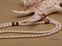 Natural White Rice Freshwater Pearl with Natural Red Agate Necklace