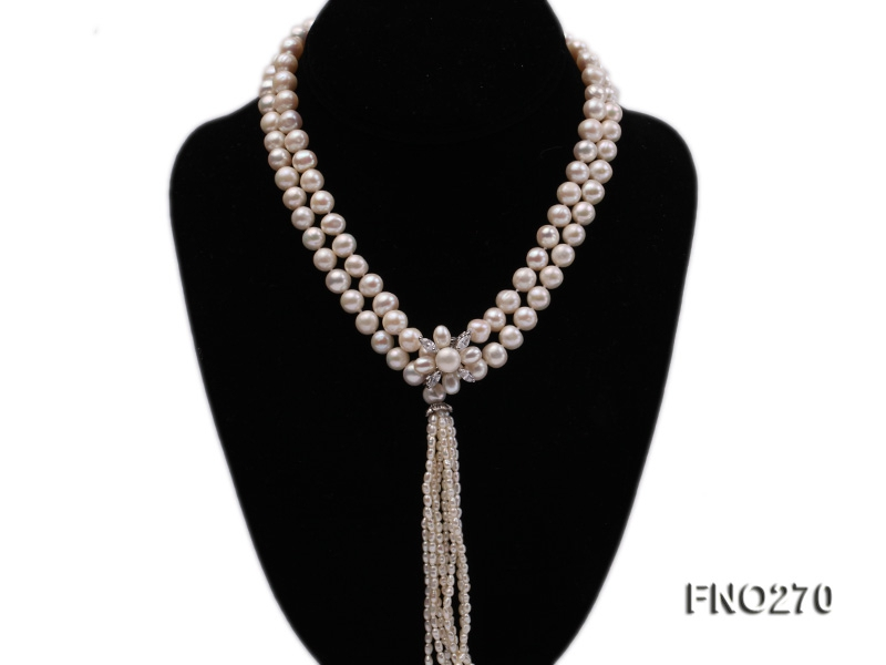 7-9mm white round freshwater pearl necklace