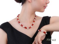 7-8mm White Freshwater Pearl & Red Agate Pillars Necklace and Bracelet Set