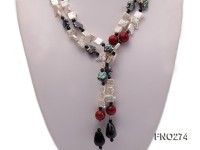 9x14mm white biwa pearl and coffee rhombus pearl and some agate opera necklace