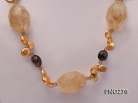 10x12mm yellow coin pearl smoky quartz and yellow crystal necklace