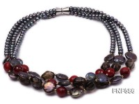 Three-strand Black Freshwater Pearl, Black Button Pearl, Smoky Quartz and Red Agate Necklace