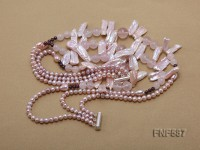 Three-strand Freshwater Pearl, Rose Quartz Beads and Garnet Beads Necklace