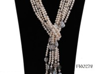 6-7mm white round FW pearl and faceted crystal and heard-shaped coin pearl opera necklace
