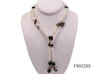 6x8mm white rice shape  pearl and black faceted agate necklace