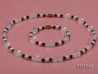 White Freshwater Pearl, Garnet Beads & Moonstone Beads Necklace and Bracelet Set