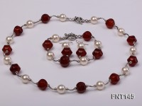 12mm White Round Shell Pearl & Red Agate Beads Necklace, Bracelet and Earrings Set