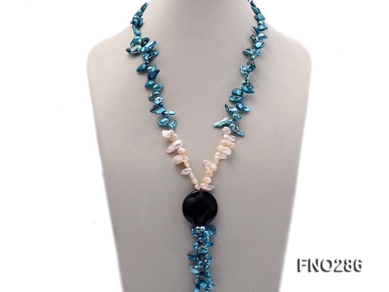 8x16mm white and blue color irregular freshwater pearl and black agate necklace