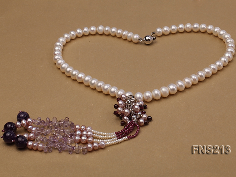 7-8mm natural white flat freshwater pearl with round garnet and natural amethyst necklace