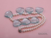 6-7mm Natural White Round Freshwater Pearl with Blue Crystal Necklace