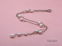 8-10mm White Round Pearl Station Necklace with a Silver Chain