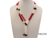 4x6mm pink rice pearl and red round coral and faceted black agate multi-strand necklace