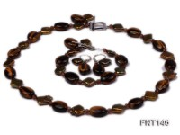 Freshwater Pearl and Tiger-eye Beads Necklace, Bracelet and Earrings Set