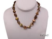 Rhombus Freshwater Pearl & Smoky Quartz Beads Necklace, Bracelet and Earrings Set