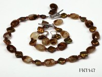 Rhombus Freshwater Pearl & Smoky Quartz Beads Necklace, Bracelet and Earrings Set