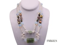 2 strand freshwater pearl and gemstone necklace
