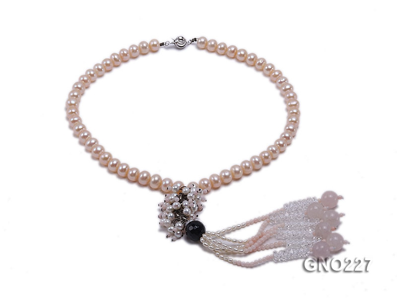 8-9mm natural pink flat freshwater pearl with black agate pink coral and white crystal necklace
