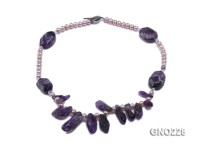 6-7mm natural lavender freshwater pearl with irregular amethyst necklace