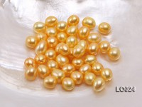 Wholesale 9×10.5mm Golden Drop-shaped Loose Freshwater Pearls