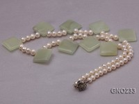 6-7mm natural white round freshwater pearl with light jade single necklace