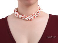 Four-strand 5x7mm White Freshwater Pearl and Red drop-shaped Coral Beads Necklace