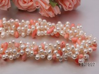 Four-strand 5x7mm White Freshwater Pearl and Pink drop-shaped Coral Beads Necklace