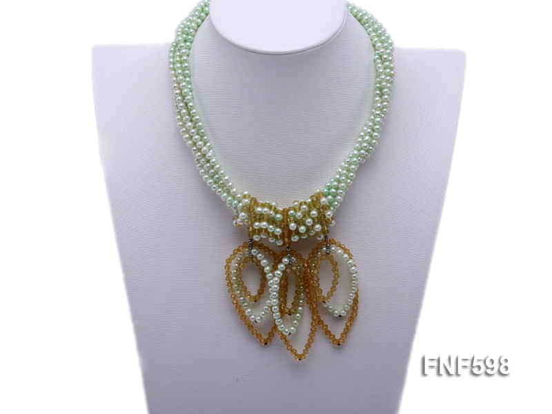 Five-strand Green Freshwater Pearl and Yellow Faceted Crystal Beads Necklace