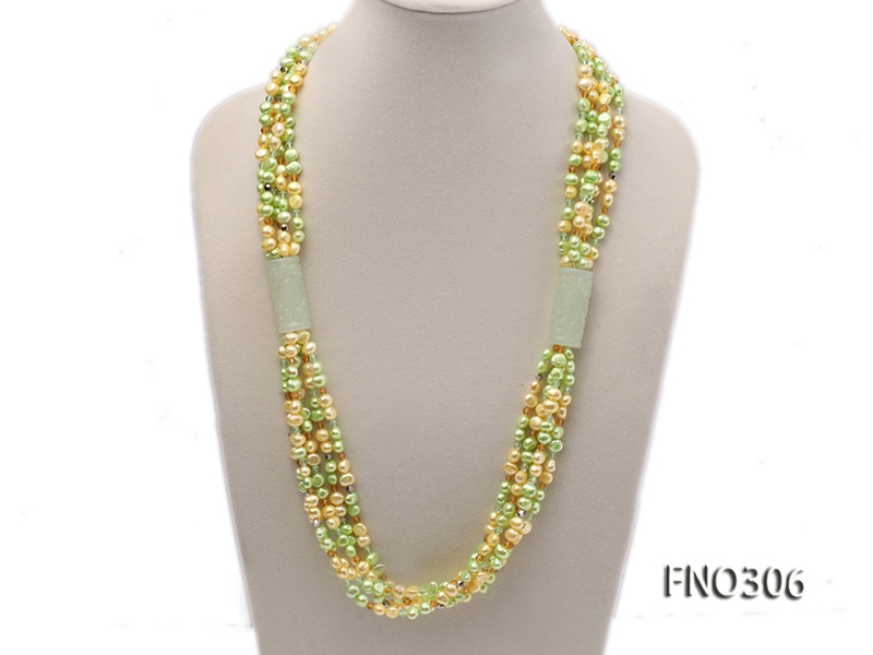 7-8mm yellow and green freshwater pearl and crystal five-strand necklace
