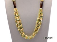 7-8mm yellow flat freshwater pearl and crystal five-strand necklace
