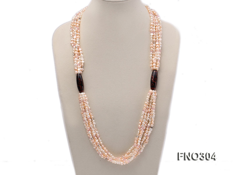 7-8mm pink flat freshwater pearl and crystal five-strand necklace
