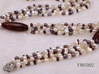 5-7mm white and purple flat freshwater pearl and crystal five-strand necklace