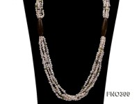 4-5mm white flat fresheater pearl and crystal chips opera necklace