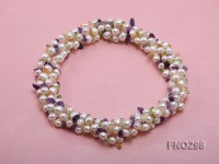 8-10mm white flat freshwater pearl and crystal chips necklace